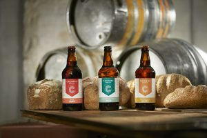 Our gorgeous beer made from bread. Doesn't it look great? It tastes even better!